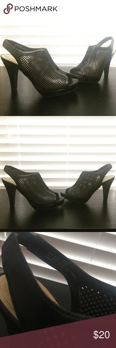 Madden Girl leather waffle heels Madden girl G-Klara black waffle heels. Has a thick elastic middle section and on sling back for comfort and appropriate fit. Madden Girl Shoes Heels