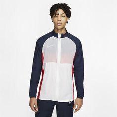Men's Nike Academy Full Zip Football Jacket. Size Medium BQ7346-102 Football Drills, Men's Football, Football Jackets, Jordan 23, Red Fashion, Nike Dri Fit, Wetsuit, Soccer, Jackets