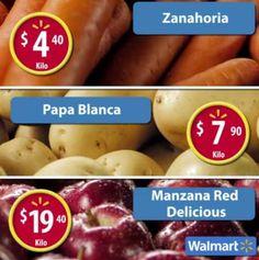 En este Martes de Frescura Walmart ahorra con las ofertas de frutas y verduras el martes 17 de enero de 2017: Zanahoria $4.40 Kg y Papa Blanca $7.90 kg.