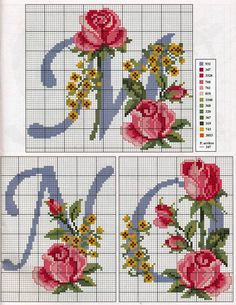 Alphabet with roses and yellow flowers - free cross stitch patterns crochet knitting amigurumi Cross Stitch Alphabet Patterns, Embroidery Alphabet, Cross Stitch Letters, Embroidery Monogram, Cross Stitch Rose, Needlepoint Patterns, Cross Stitch Flowers, Cross Stitch Charts, Ribbon Embroidery