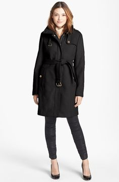 b9e0f5fe8ec $285, Black Trenchcoat: MICHAEL Michael Kors Michl Michl Kors Wool Blend  Military Trench Coat