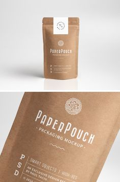 Treat yourself to this clean mock-up and use it to showcase your label or packaging design on a photorealistic paper pouch. The high-quality PSD file . Kraft Packaging, Pouch Packaging, Food Packaging Design, Paper Packaging, Coffee Packaging, Packaging Design Inspiration, Cosmetic Packaging, Chocolate Packaging, Bottle Packaging
