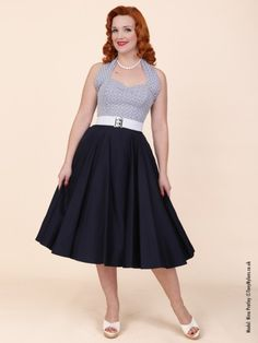 1950s Circle Skirt Navy Sateen from Vivien of Holloway