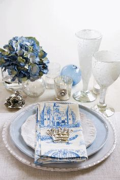 toile wedding place setting