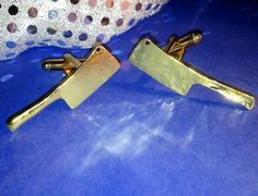 Awesome Pair of Gold Metal Meat Cleaver Butcher by Lynx2Cuffs, $25.99