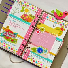 Birds and ladybugs filofax planner page faux filofax, personal planner