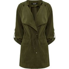 Yoins Green Hooded Drawstring Pockets Trench Coat ($31) ❤ liked on Polyvore featuring outerwear, coats, jackets, casacos, black, lapel coat, drawstring trench coat, hooded coat, hooded trench coats and collar coat