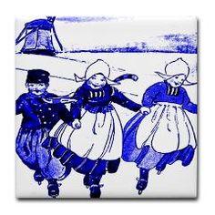 blue Dutch children on tile