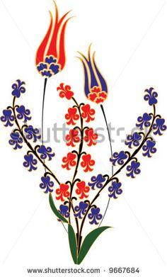 Traditional ottoman tulip hyacinth tile flowers