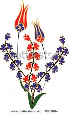 Traditional ottoman tulip hyacinth tile flowers