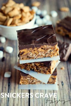 Snickers Cereal Bars AKA Snickers Crave Bars by Three in Three #Chocolate4TheWin #shop #cbias