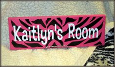 Girls pink and black personalized zebra bedroom name sign. For Leah's new room