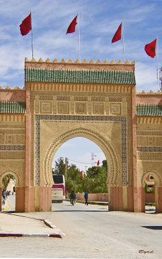 Gateway to Erfoud, eastern Morocco - an oasis town in the Sahara Desert (near the Erg Chebbi Dunes)