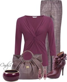 A fashion look from October 2012 featuring purple blouse, plaid pants and bootie boots. Browse and shop related looks. Classic Outfits For Women, Classy Outfits, Mode Outfits, Fashion Outfits, Womens Fashion, Pink Plaid Shirt, Plaid Pants, Gray Pants, Soft Summer Palette