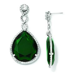 Cheryl M Sterling Silver Glass Simulated Emerald & CZ Post Dangle... (650 VEF) ❤ liked on Polyvore featuring jewelry, earrings, sterling silver, glass earrings, cz dangle earrings, fake emerald earrings, dangle earrings and long earrings