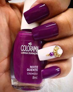 Lovely purple and white nails - ChicLadies. Beautiful Nail Polish, Fabulous Nails, Purple Nails, White Nails, Star Nails, My Nails, Colorful Nail Designs, Nail Art Designs, Fancy Nails