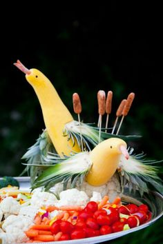 Squash Birds for Veggie Tray. @Valerie Graber It's just a pic, but it gives you the idea. SO you!