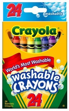 Crayola 24ct Washable Crayons by Crayola. $5.99. Key Primary and Secondary Colors.. 24ct Washable Crayons. Made in America. Hours of creative coloring fun!. Convenient small package in reusable tuck box.. From the Manufacturer                Crayola 24ct Washable Crayons with convenient packaging and educator preferred color selection.                                    Product Description                Washable Crayons. 24 crayons in the classic colors. They are design...