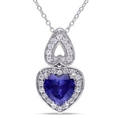 Amour Sterling Silver Created Blue and White Sapphire Heart Necklace Sterling Silver Heart Necklace, Heart Pendant Necklace, Sterling Silver Chains, Sterling Silver Pendants, Silver Ring, Silver Charms, Silver Necklaces, Jewelry Necklaces, Necklace Chain