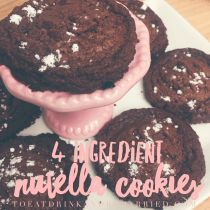 The easiest, simplest and most delicious Nutella cookies you will ever try.  With just four ingredients, they're ready in no time.  Enjoy these tonight. | 4 ingredient cookie recipes | Sweets | Chocolate desserts |