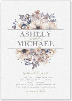 Watercolor Bouquet - Shimmer Wedding Invitations in Lilac or Sand | Lady Jae