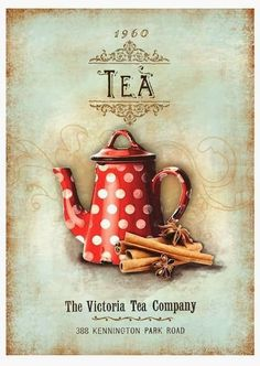 Lovely vintage wall hanging for a tea room. Vintage Tea, Vintage Labels, Vintage Cards, Vintage Paper, Printable Vintage, Vintage Coffee, Decoupage Vintage, Decoupage Paper, Images Vintage