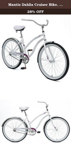 Mantis Dahlia Cruiser Bike, 26 inch Wheels, 18 inch Frame, Women's Bike, White. Get ready to cruise in style with the Mantis Dahlia Beach Cruiser Bicycle. This easy to ride cruiser has features like a rear coaster brake, single speed drivetrain, steel frame, fenders, spring saddle, and quick release seat.