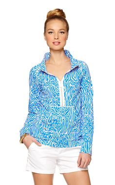 Sweats are not exactly our go-to look, but this is no average sweatshirt. A popover is the chic-est way to be comfy. Zip down the gold zipper to allow a bit of your polo to peek out, zip all the way up for a chilly night on the water, or wear it your own way in between. With fabulous Lilly prints and colors and made in our signature Cozy Terry, this is the best way we know to be comfy & chic -- and makes a perfect travel sweatshirt for you jet setters!