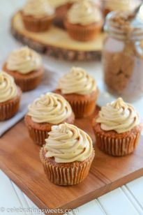 Carrot Cake Cupcakes with Brown Sugar Frosting | Celebrating Sweets