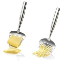 """Boska Holland De Luxe Stainless Steel Cheese Slicer & Grater - 2pc. Set by Boska Holland. $28.95. Boska Holland De Luxe Stainless Steel Cheese Slicer & Grater - 2pc. Set. Made in the Netherlands. Dishwasher safe ~ Length: Slicer - 8.25"""" / Grater - 7"""". Made of brushed stainless steel. Each is designed for use with particular types of cheese.  The slicer is designed for use on semi-hard to hard cheese and the grater is for use on semi-hard to very hard cheese.. Boska ..."""