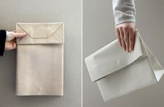 Leather fold-over clutch - in the style of a paper bag.