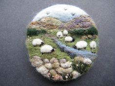 Hand Made Needle Felted Brooch/Gift  'The Upland Stream '  by Tracey Dunn