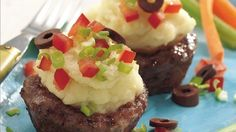 Take a tip from the Greek Isles and turn ground meat into clever cups for seasoned mashed potato mix and feta cheese.