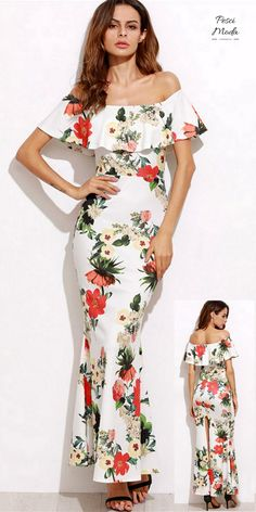 Off Shoulder White Floral Summer Fashion Bohemian Style Maxi Dress with #FreeShipping. #LongDresses #LongDressesCasual #LongDressesSummer #SummerOutfits #SummerDresses #CasualLongDresses #ChicOutfits #ChicFashion #WomensFashion #WomensFashionCasual #WomensFashionForSummer #2017Dresses #2017DressStyle #Boho #Bohemian #BohoStyle #BohoChic