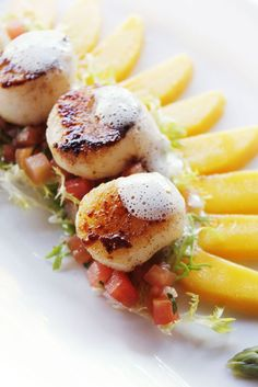 Seared Scallops on Tomato and Green Asparagus Salsa with Mango and Passion Fruit Coulis - Lagoona Restaurant Bali Wedding, Destination Wedding, Seared Scallops, Asparagus, Salsa, Mango, Passion, Restaurant, Fruit