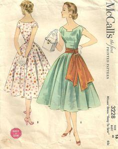 McCalls 3228 Vintage 50s Sewing Pattern Dress by studioGpatterns, $18.50