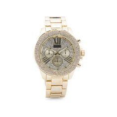 Women's Pave Crystal Dial Bracelet Watch ($30) ❤ liked on Polyvore featuring jewelry, watches, bracelet watch, crystal watches, gold tone bracelet watch, pave watches and crystal bracelet watch
