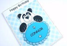 Birthday Card  Panda  Kids Birthday  by CraftyMushroomCards