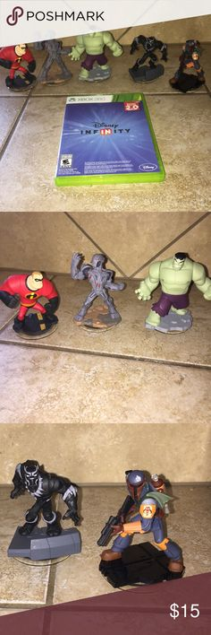 Disney Infinity Game & Characters XBOX 360 game and 5 characters included in this bundle. Game and characters rarely used and in great condition!  Bundle and save 20%!! Disney Other