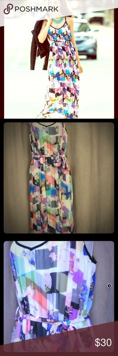 Bar III Pleated Patchwork-Print Maxi Dress Fun and flirty maxi dress. Shell is 100% polyester and the lining is 100% polyester. Very flowy and soft and won't see thru like most. I wore this once for a banquet and received many compliments. Bar III Dresses Maxi