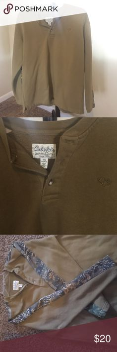 Men's Cabela's Brand Pullover Light pullover that is fleece lined. Has camo running down the side of the sleeves. Cabela's Jackets & Coats Lightweight & Shirt Jackets