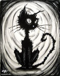Print 8x10  Black Cat 4  Watercolor Ink Cats Animal by chuckhodi, $10.00