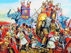 Batalla de Magnesia (190 a.C.), una dura batalla entre la falange seleúcida apoyada por elefantes y la Legión romana, con victoria para estos últimos tras un porfiado combate, cortesía de A. Yezhov. http://www.elgrancapitan.org/foro/viewtopic.php?f=87&t=16979&p=883522#p883510
