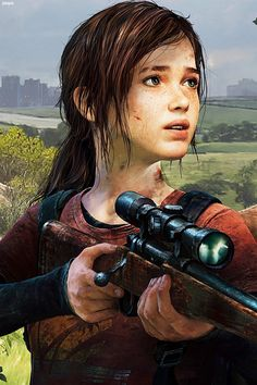 Closeup of Ellie. The Last of Us - I would totally play this video game. Just watching someone else play it was intense.<<< wow this is crazy! I watched it as well! Joel And Ellie, The Last Of Us, Edge Of The Universe, Warrior Girl, Video Game Characters, Female Characters, Ps4 Games, Comic, Video Game Art