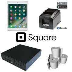 Square Hardware Bundle with Apple iPad Tablet, Star Bluetooth Printer, Cash Drawer & Paper Rolls compatible with Squareup iPad POS Software. The Printer in this bundle connects via Bluetooth directly to the iPad so no cabling is required. Square Point Of Sale, Square Pos, Find A Business Name, Business Video, Coffee Shop Counter, Rotating Globe, Coffee Carts, Ecommerce Store, Printer