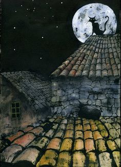 Cats on Tile Roof::Leticia Zamora.