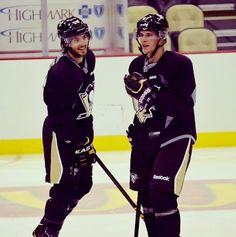 Kris Letang and Sidney Crosby, Pittsburgh Penguins.   To put a smile on your face, Angie Nieto