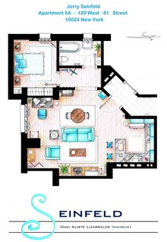 Hand drawn floor plans of popular TV show apartments and houses. The Simpsons, Seinfeld, Big Bang Theory, Dexter