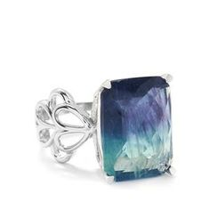 12.45cts Bi-Colour Fluorite Sterling Silver Ring