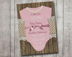 Girl Baby Shower Invitation Pink Onesie Pink Bow by MintedPress